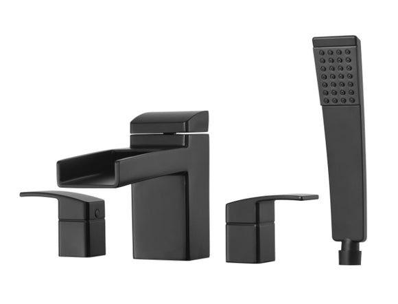 Pfister Kenzo 4-Hole Trough Roman Tub With Handshower, Trim Only in Black - SpeedySinks