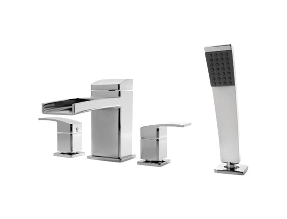 Pfister Kenzo 4-Hole Trough Roman Tub With Handshower, Trim Only in Chrome - SpeedySinks