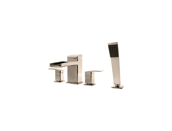 Pfister Kenzo 4-Hole Trough Roman Tub With Handshower, Trim Only in Brushed Nickel