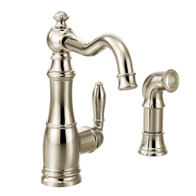 Moen Weymouth One Handle High Arc Kitchen Faucet in Polished Nickel - SpeedySinks