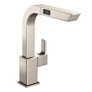 Moen 90 Degree One Handle High Arc Pullout Kitchen Faucet in Spot Resist Stainless - SpeedySinks