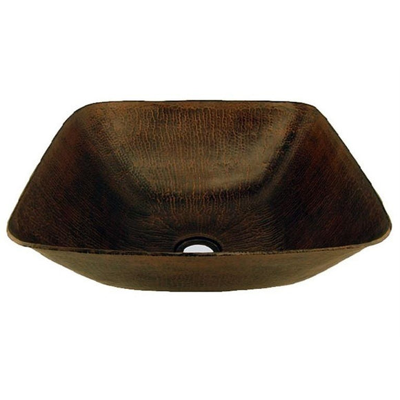 Log Cabin Square Vessel Copper Bathroom Sink - SpeedySinks