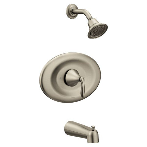 Moen Eva Posi-Temp Tub/Rain Shower Trim Only (Alternate Handle Base) in Brushed Nickel - SpeedySinks
