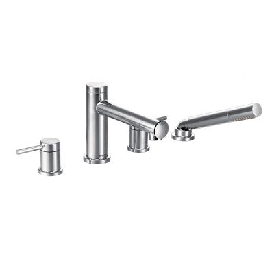 Moen Align Chrome Two-Handle Diverter Roman Tub Faucet Includes Hand Shower - SpeedySinks