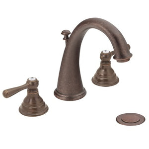 Moen Kingsley Two-Handle Widespread High Arc Bathroom Faucet in Oil Rubbed Bronze - SpeedySinks