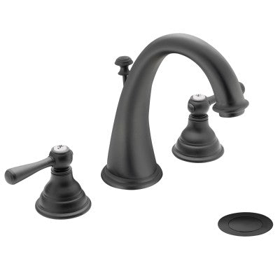 Moen Kingsley Two-Handle Widespread High Arc Bathroom Faucet in Wrought Iron - SpeedySinks