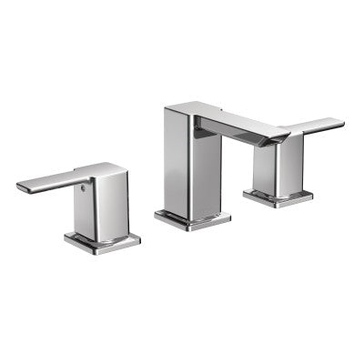 Moen 90 Degree Two Handle Low Arc Bathroom Faucet in Chrome - SpeedySinks