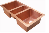 Oriental Triple Basin Undermount Copper Kitchen Sink - SpeedySinks