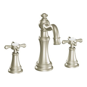Moen Weymouth Two Handle Widespread Bathroom Faucet with Cross-Handles in Brushed Nickel - SpeedySinks