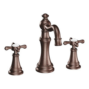 Moen Weymouth Two Handle Widespread Bathroom Faucet with Cross-Handles in Oil Rubbed Bronze - Chariotwholesale