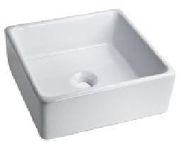Oasis Utopia-WH White Square Porcelain Bathroom Sink