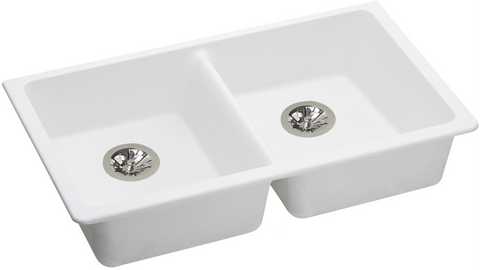 "Elkay ELGUAD3319PDWH0 Quartz Classic 33"" x 18-1/2"" x 5-1/2"", Equal Double Undermount ADA Sink with Perfect Drain, White"