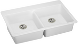 "Elkay ELGAD3322PDWH0 Quartz Classic 33"" x 22"" x 5-1/2"", Equal Double Top Mount ADA Sink with Perfect Drain, White - Chariotwholesale"