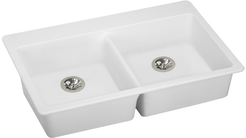 "Elkay ELGAD3322PDWH0 Quartz Classic 33"" x 22"" x 5-1/2"", Equal Double Top Mount ADA Sink with Perfect Drain, White"