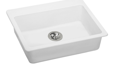 "Elkay ELGAD2522PDWH0 Quartz Classic 25"" x 22"" x 5-1/2"", Top Mount ADA Sink with Perfect Drain in White"
