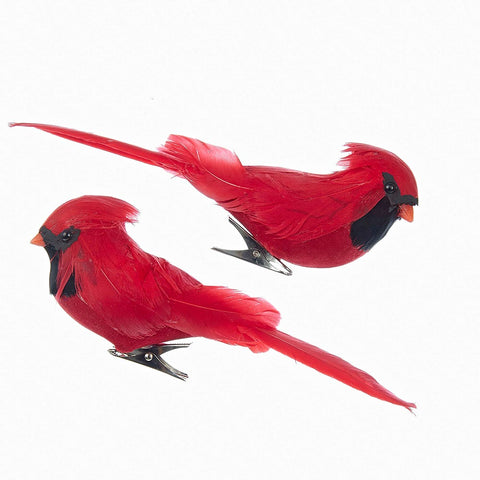 Feather Flocked Cardinals on Clip