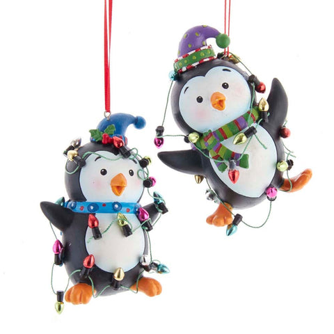 "3.6"" Resin Penguin w/Lights Ornament"