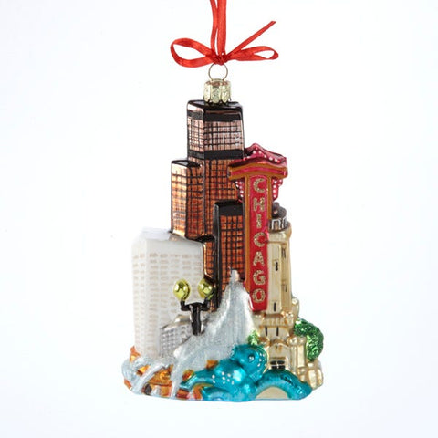 Chicago Skyline Glass Ornament featuring The Chicago Theatre, Art Institue and other Chicago Landmarks