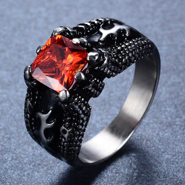 Dark Titanium Red Ruby Ring