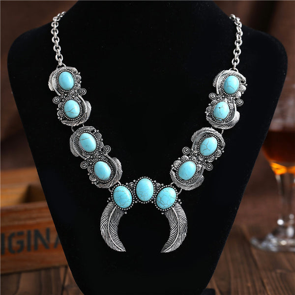 Turquoise Stone Crescent Necklace