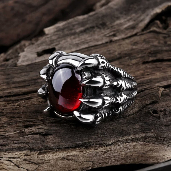 Titanium Ruby Skull Claw Ring