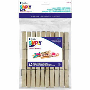 Medium Spring Clothespins  by Simply Art 40 Count 10278  (DISCONTINUED)