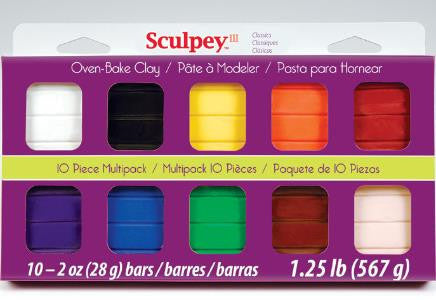 Sculpey III Mulltipacks, Classic Collection 10 x 2 ounce, S3 MP 0000-1 - Creative Wholesale