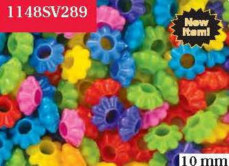 Flower Ring Bead 10mm, large hole, Circus Multi  #1148SV289 - Creative Wholesale