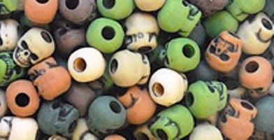 Skull Beads 13mm  Camo Multi 1180SV551A - Creative Wholesale