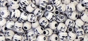 Skull Beads 13mm   Antique White 1180SV073A - Creative Wholesale