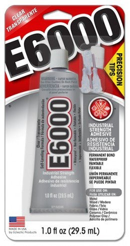 E6000® Glue, CLEAR, Medium Viscosity, 1 ounce tube with precision tips, 6 Per Case  #231020C - Creative Wholesale
