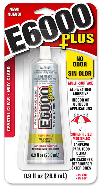 E6000 Plus  Glue Clear .9 oz  #570110C NO ODOR,  New Product, Case/6 - Creative Wholesale