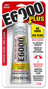 E6000 Plus  Glue Clear 1.9 oz  NO ODOR   #570120C New Product, Case/6 - Creative Wholesale