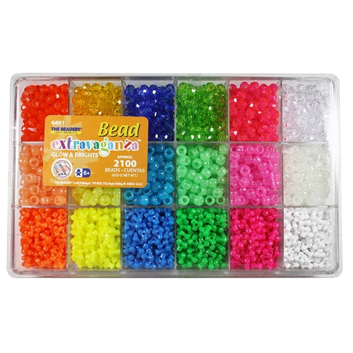 Bead Box Bead Extravaganza Glow and Brights 2100 Pieces #6491 - Creative Wholesale