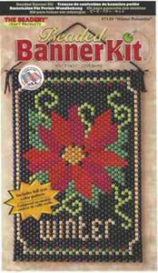 Beaded Banner Kit Winter Poinsettia  #7139 - Creative Wholesale