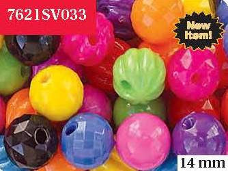 Bubble Bead 14mm, Circus Kandy Assorted Textures 7621SV033 - Creative Wholesale