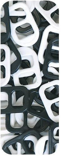 Soda Pop Tabs, 16 X 25mm, White/Black  7623SV030 - Beadery Products