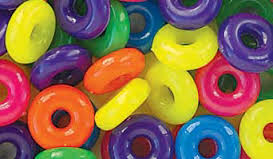 Ring Beads 14mm, Neon Multi  #847SV077 - Beadery Products
