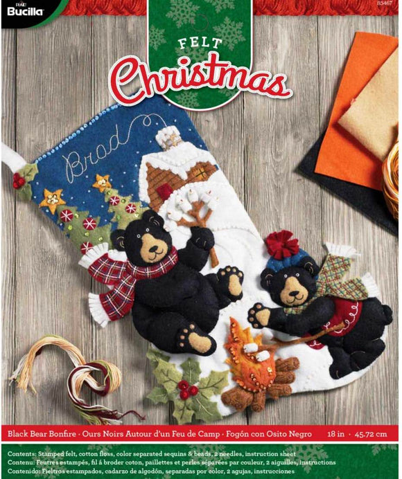 Felt Stocking Black Bear Bonfire 85467 - Creative Wholesale