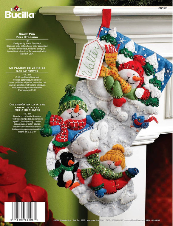 Felt Stocking Snow Fun 86108 - Creative Wholesale