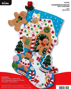 Felt Stocking Gingerbread Dreams 86898E - Creative Wholesale