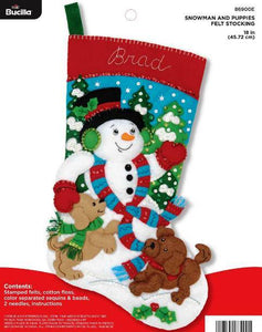 Felt Stocking Snowman and Puppies 86900E - Creative Wholesale