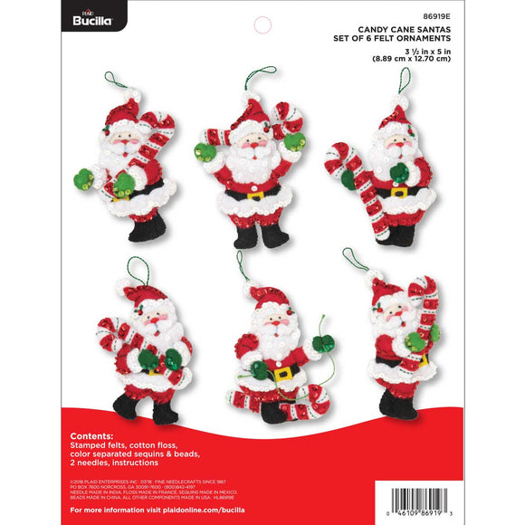 Bucilla Felt Ornament Kit Candy Cane Santas 86919E - Creative Wholesale