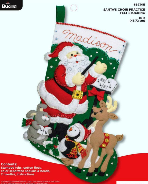 Felt Stocking Santa's Choir Practice 86930E - Creative Wholesale