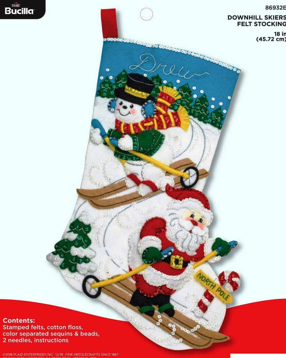 Felt Stocking Downhill Skiers 86932E - Creative Wholesale