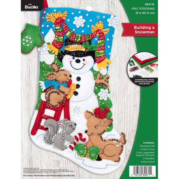 Felt Stocking Building A Snowman  89071E - Creative Wholesale
