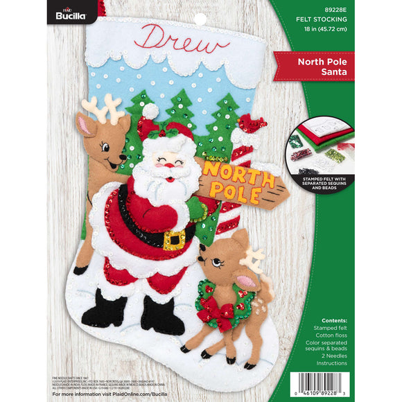 Felt Stocking North Pole Santa 89228E - Creative Wholesale