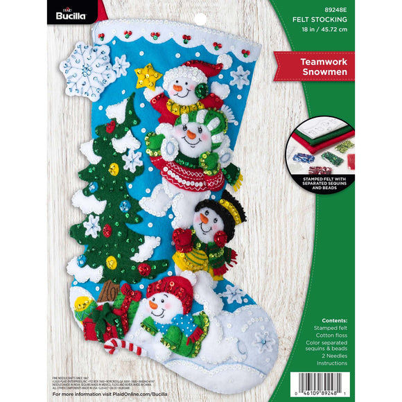 Felt Stocking Teamwork Snowmen  89248E