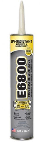 E6800 UV Resistant Glue, Clear, 10.2 oz Cartridge (Case of 12) - Creative Wholesale