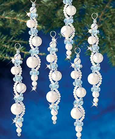 Beadery Holiday Ornament Kit  Pearl Icicles #7446 New - Creative Wholesale